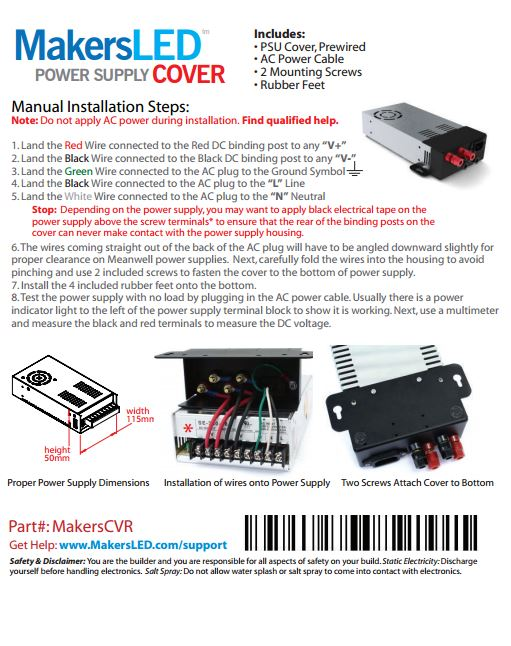 MakersLED Power Supply Cover Manual